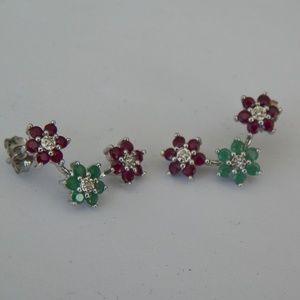 14K W GOLD TRI-STAR DIAMOND/RUBY/EMERALD EARRINGS